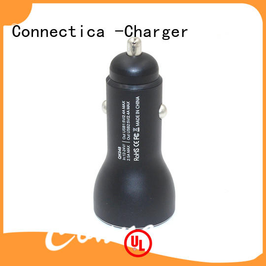 Connectica charger metal dual usb car charger with two different output ports for car
