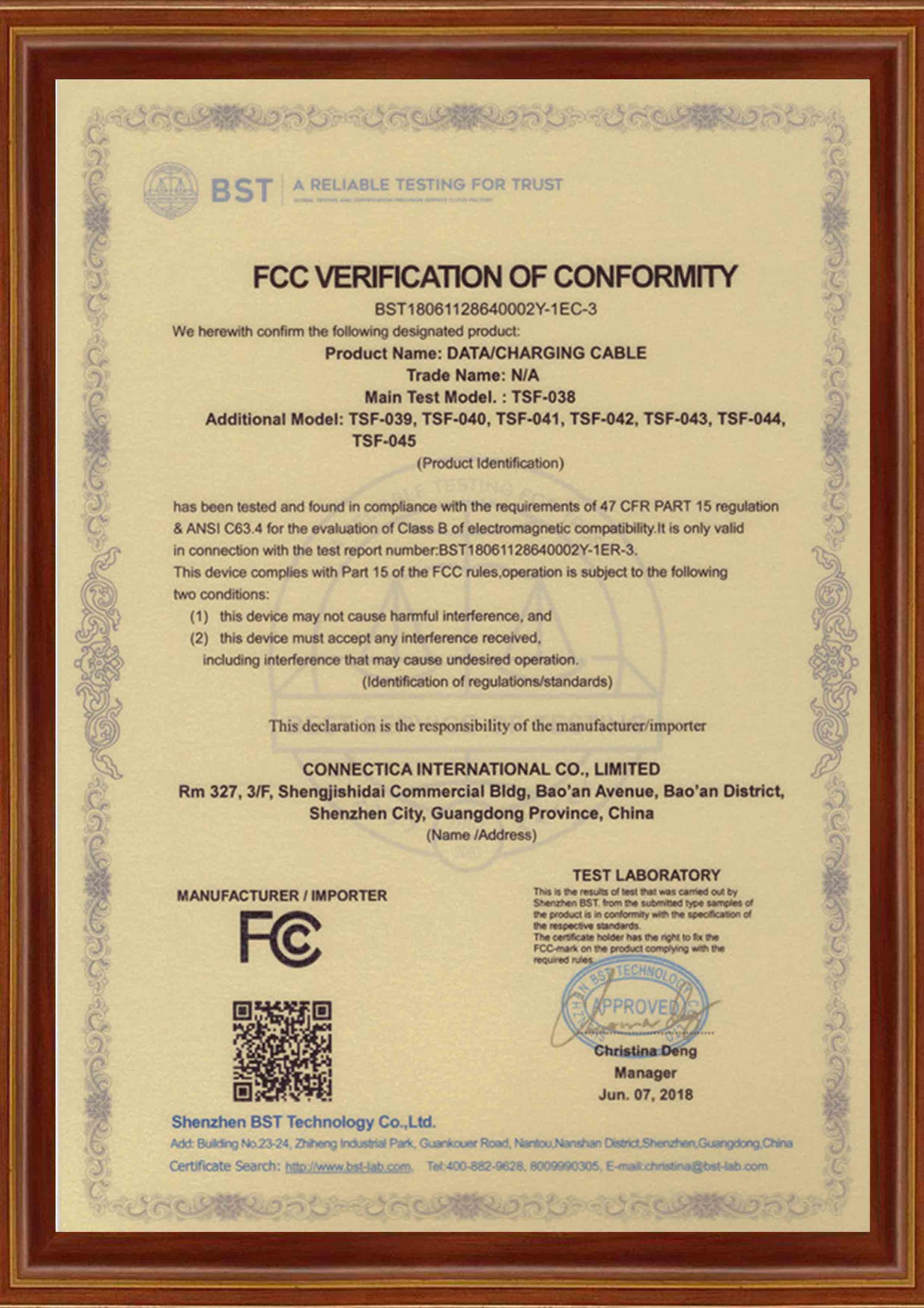 Connectica charger Brand certification datacharging charging cable manufacture