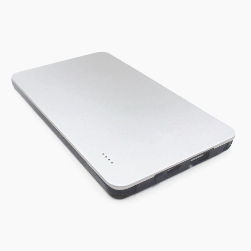 MFi Aluminum housing Ultra-thin 5000mAh power bank with built-in a Lightning and a USB Type-C Connector cable