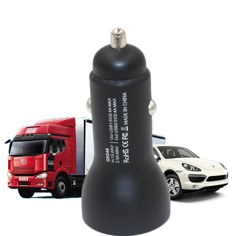 hot sale mobile phone car charger with two different output ports for mobile Connectica charger