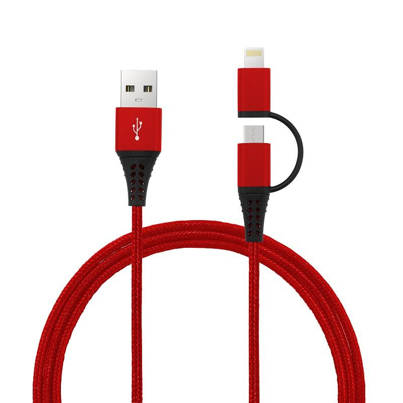2 In 1 Connector MFi Data/Charging Nylon Braided Cable Micro Usb Charging Cable