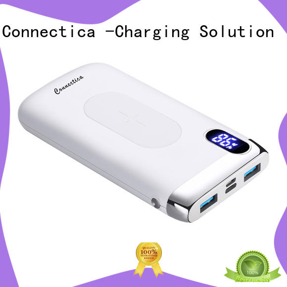 Connectica notepad wireless charging power bank with pd and qc for abc and pc flame retardant