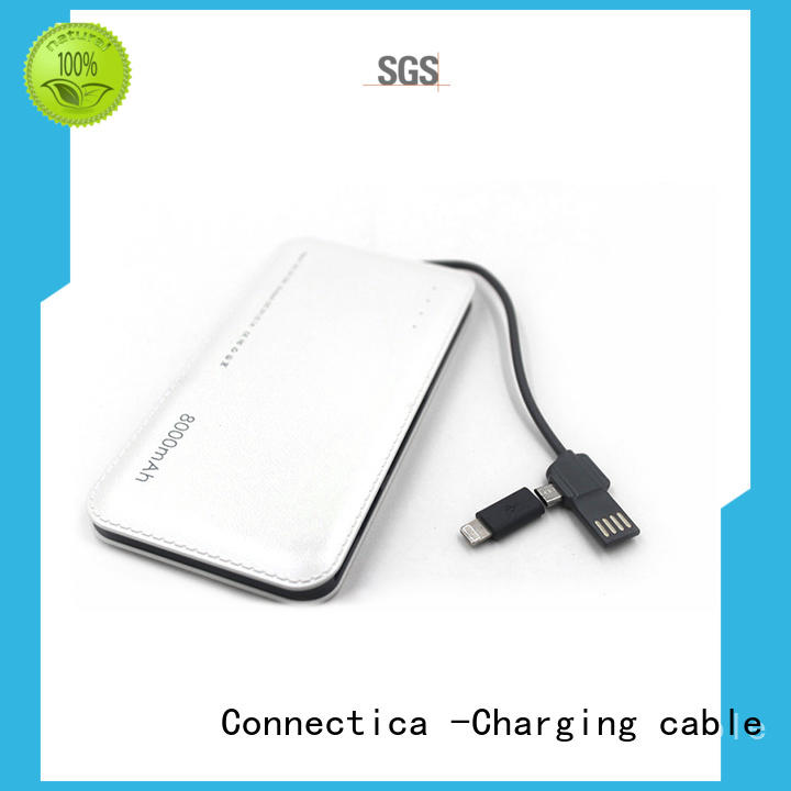Connectica charging high quality slim power bank with wireless charging for abc and pc flame retardant