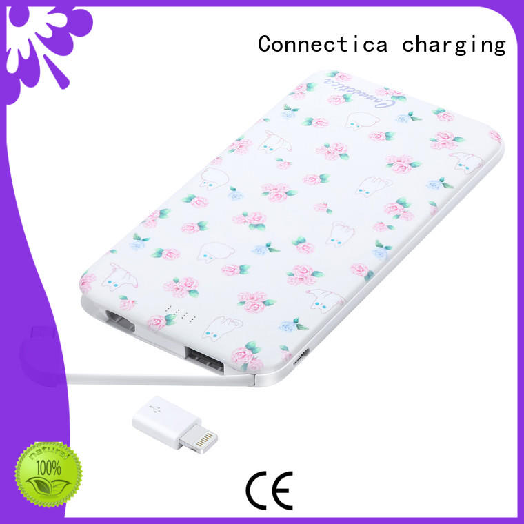 Connectica charging slim power bank portable charger high quality for abc and pc flame retardant