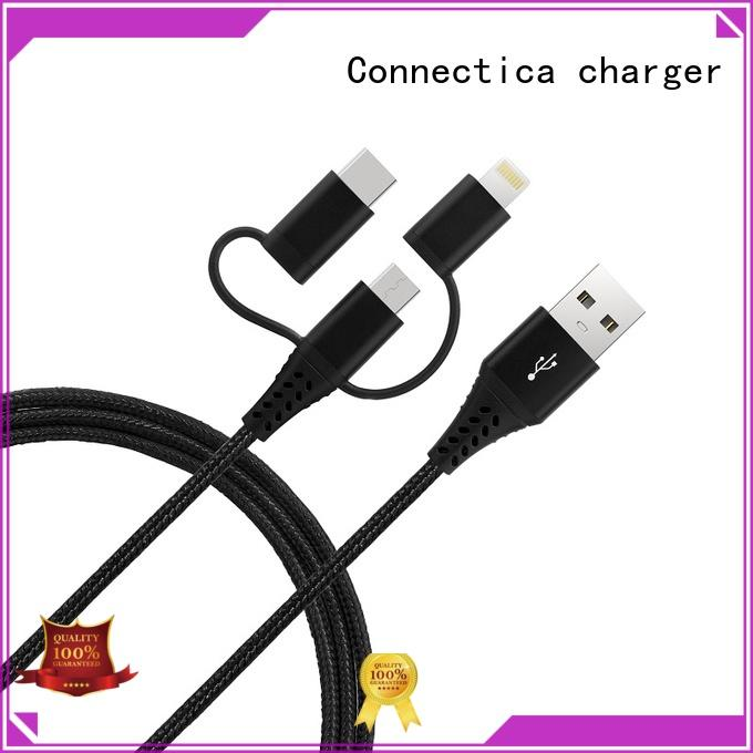 Connectica charger one to three mfi lightning cable with molding for the game