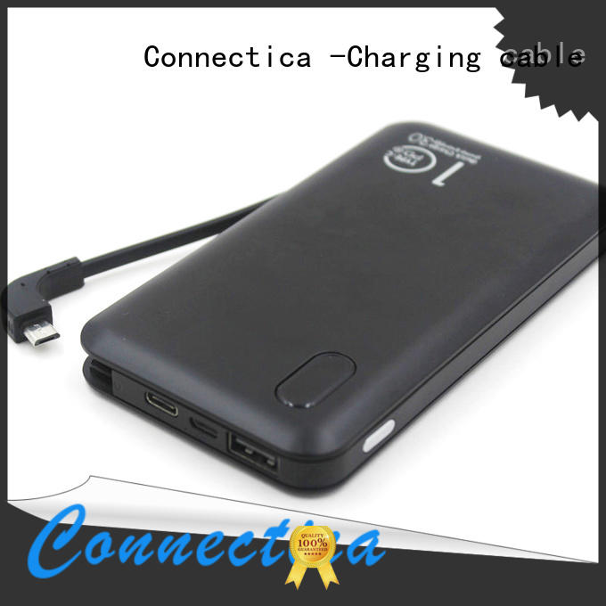 Connectica charging suede pad phone power bank with usb type c cable for working