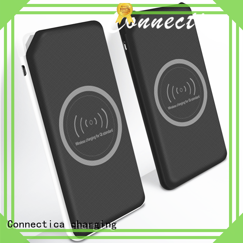 Connectica charging power card wallet cell phone power bank with rfid blocker for travelling