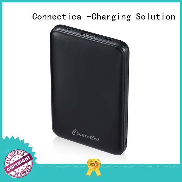 Connectica mfi external battery charger with wireless charging for abc and pc flame retardant