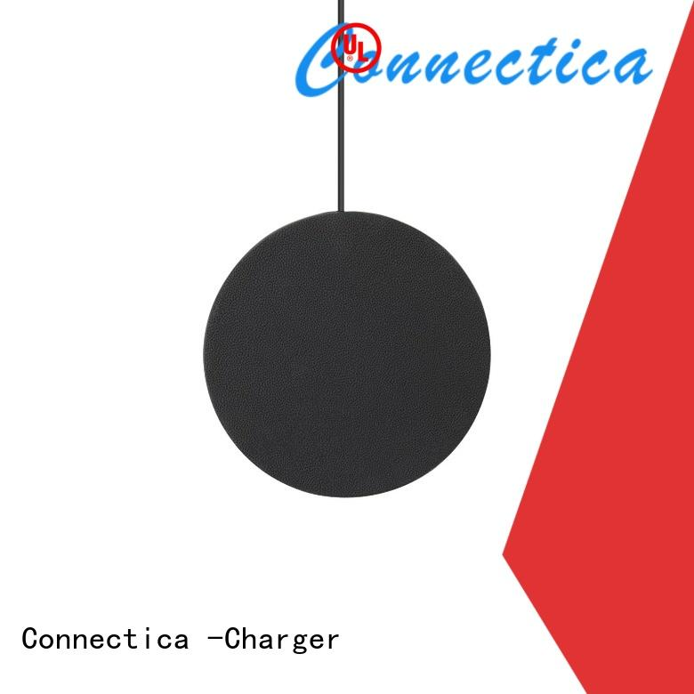 Round Shape or Oval Shape PU Wrap wireless Charger CWC-0008