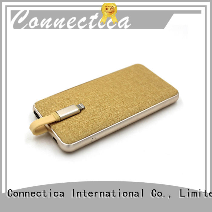high quality slim power bank with bulit in a lightning for working