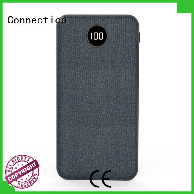 Connectica slim custom power bank with wireless charging for mobile phone