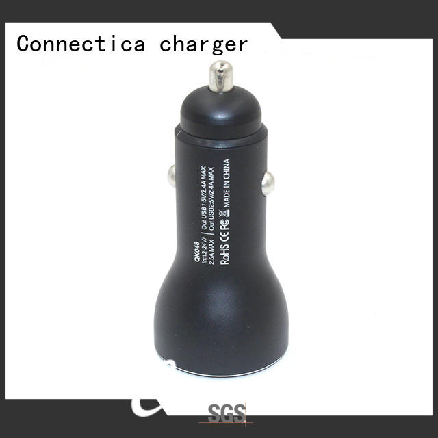 safety flame shape OEM car charger adapter Connectica charger