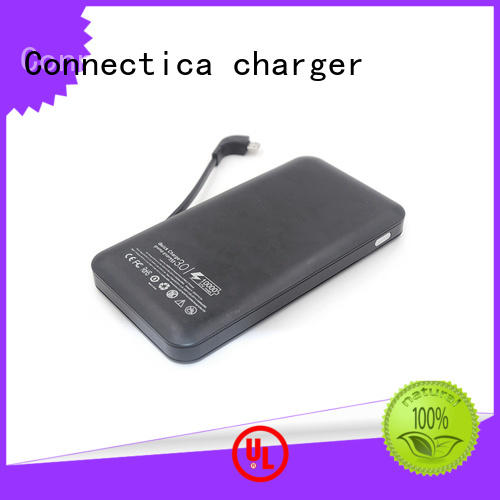 Connectica charger Brand suede builtin portable power bank notepad factory
