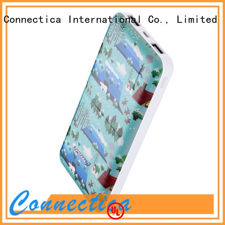 Connectica charger power card wallet cell phone power bank with wireless charging for travelling