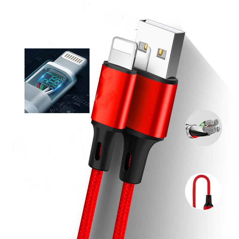 One to Three Charging / Data Nylon braided cable with a USB A Port  to Type C Connector  Micro Connector and Lightning Connector-3